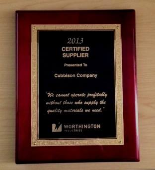 Cubbison Accepts Award from Worthington Industries